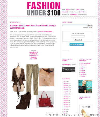Fashion Under 100 guest post 12.6.10